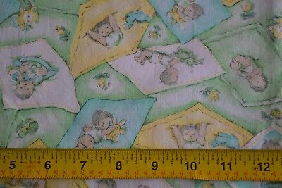 "47"" Long x 36"" Vintage 1940's-60's, Babies on Yellow Blue & Green Cotton, D825"