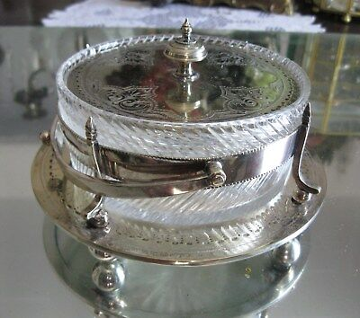 Antique Pattern Glass Silver Plate Lidded Handled Bowl