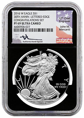 2016-W Proof Silver Eagle Congratulations NGC PF69 UC Black Mercanti SKU49922