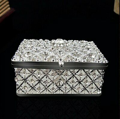 Square Silver Jewelry Trinket Box Antique Pewter Casket Gift Craft Dressing Case