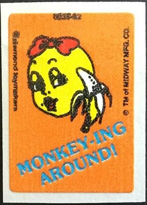 Vintage Scratch & Sniff Stickers - Ms. Pac Man - Banana #1 - Mint!!