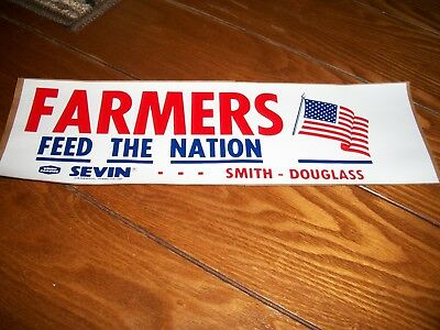 old 1970's Smith-Douglass Fertilizer Farmers Feed The Nation bumper sticker farm