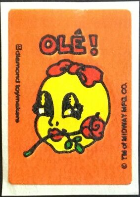 Vintage Scratch & Sniff Stickers - Ms. Pac Man - Rose #3 - Mint!!