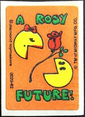 Vintage Scratch & Sniff Stickers - Ms. Pac Man - Rose #1 - Mint!!