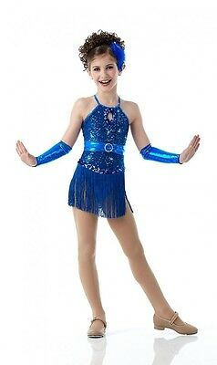 Anything Goes Dance Costume BLUE Fringed Leotard Tap No Mitts Child Small New