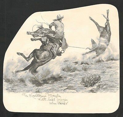 Will James autograph on book illustration of Cowboy Roping Steer