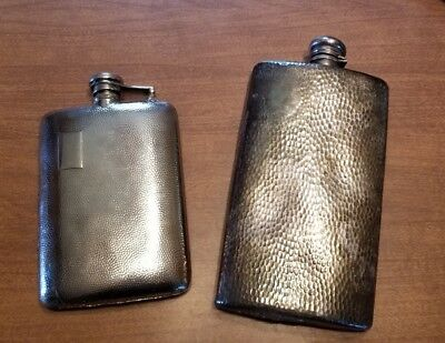 Arts & Crafts Hammered Meriden Silverplate Hip Flask with Sterling Cap