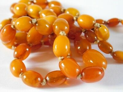 ANTIQUE AMBER BEADS - AMBER BEADED NECKLACE 29 inches long - 18.4 grams