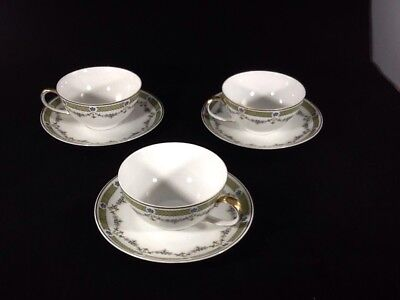 CROWN IMPERIAL H and C CZECHO CHINA(3) CUPS&SAUCERS Green Gold Trim Green Band
