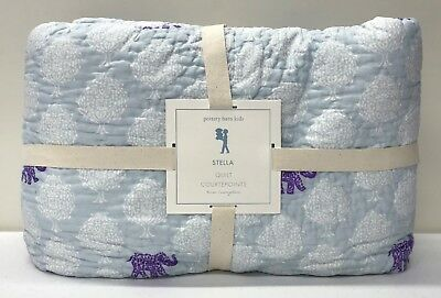 NEW Pottery Barn KIDS Stella Elephant TWIN Quilt~Lavender Purple, Blue, Multi