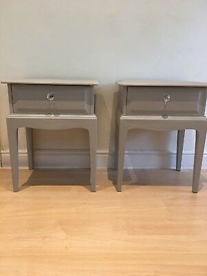 Stag Pair,1 Drawer Bedside Cabinets, tables, Shabby Chic, LA Pale French Grey