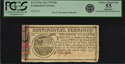 Colonial Currency CC-9 May 10, 1775 $20 PCGS CAN 55 (Apparent) Ex Newman RARE!