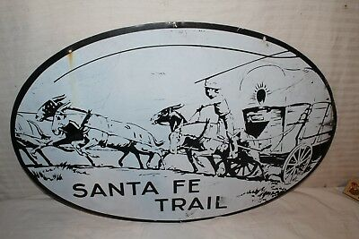 "Rare Vintage 1950's Santa Fe Trail Highway Road 2 Sided 30"" Gas Oil Metal Sign"
