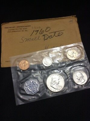 1960 United States Mint Proof Coin Set, .91 Face In Original Envelope 90% Silver