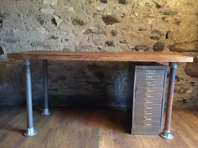 Industrial Solid Wood And  Metal Office Desk And Stripped Metal Filing Cabinet
