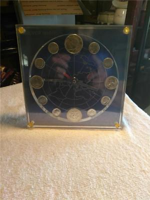 Silver Orbit Model 14 Numismatic Marion Kay Coin Clock 1968 Siver Coins
