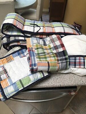 Pottery Barn Kids Madras Nursery Crib Quilt Bumper Skirt  Plaid Bedding Drape