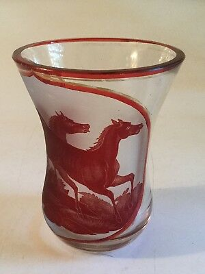 """Antique Victorian Red 4 5/8"""" Water Goblet Glass - Etched with Horses"""