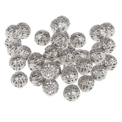 100 Pcs Wholesale 8 mm Round Mini Loose Spacer Bead Hollow Beads for Jewelry