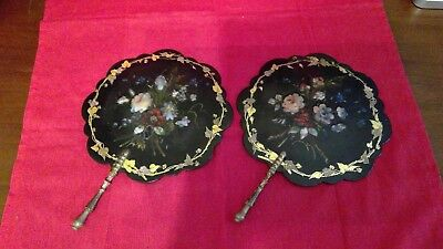 Unique Antique Black Lacquer with Mother-of-Pearl Hand Fans
