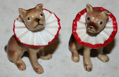 Set of 2 Vintage Boxer Miniature Bone China Figurines w/ Circus Collars
