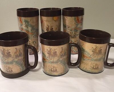 Vintage set of 4 world map tumblers 22k gold trim 12oz drinking vintage set of 6 thermo serv tumblers glasses cups mugs old world map discovery gumiabroncs Gallery