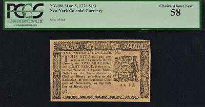 New York Colonial Currency March 5, 1776 NY-188 $1/3 PCGS CAN 58
