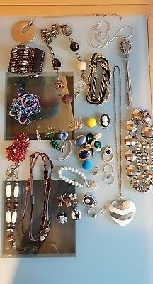 Mixed Job Lot Of Vintage, Retro, Modern Jewellery. Metal Types Unknown.