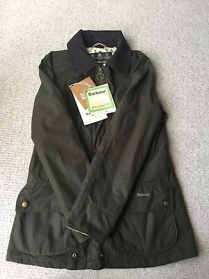Barbour Ladies Green Wax Hope Beadnell Jacket Size 8 Julie Dodsworth Lining BNWT