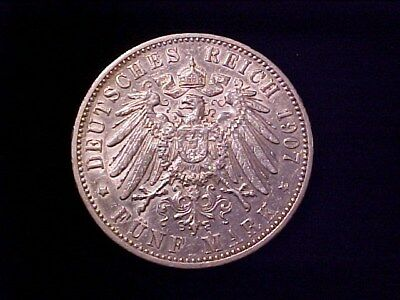German States Wurttemberg 5 Marks Silver Crown 1907-F Au
