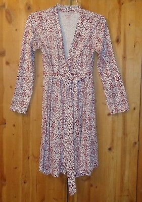 Nwot Maroon & White Print Wrap Style Robe From Motherhood Maternity Small