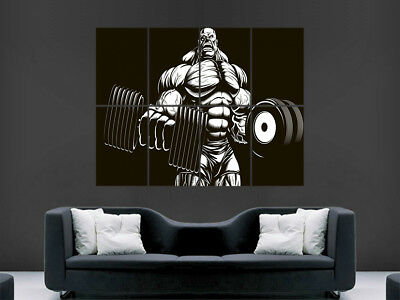 Bodybuilder Comic Style Poster Gym Abs Dumbells Muscles Image Print Giant Wall