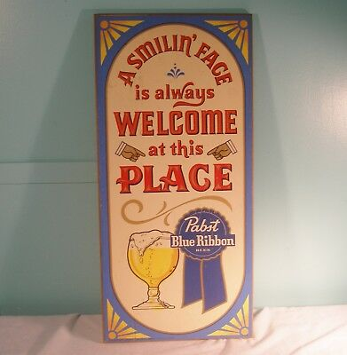 Vintage Pabst Blue Ribbon Beer Wood Sign, 11 1/4 x 23 1/4 Inches, 1973