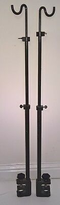 Medical IV stands (pair), portable featuring g-clamp to attach them to bed etc