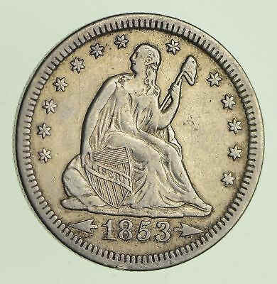1853 Seated Liberty Quarter - Circulated *9058