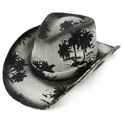 d4c9c43c1d7 Palm Tree Print Western Paper Straw Cowboy Cowgirl Hat - FREE SHIPPING