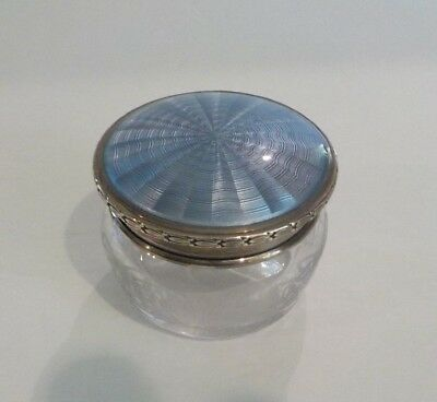 Antique Engraved Glass Dresser Box, Sterling Silver Guilloche Enamel Lid