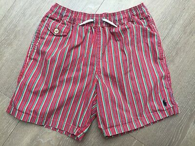Boys Ralph Lauren Red Stripe Swimming Shorts, Size 10-12 Years