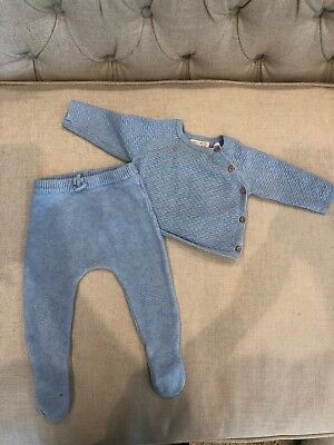 Used Zara Baby Boy 2 Piece Knit Set Sweater Footed Leggings Blue 6 9 Months