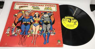CHRISTMAS SUPERHEROES Vtg Superman Batman Wonder Woman Vinyl Record Album Comics