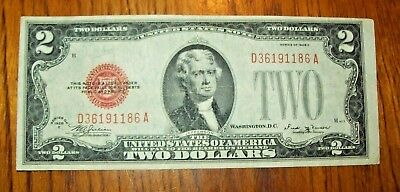 1928-E U.S. $2 Red Seal, United States Note, Banknote, XF