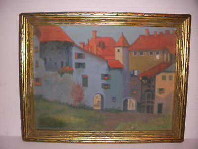 Antique oil painting houses cityscape scene signed dated 1929