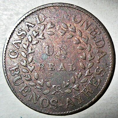 Buenos Aires (Argentina) 1840 Copper One Real Coin (Km#7)