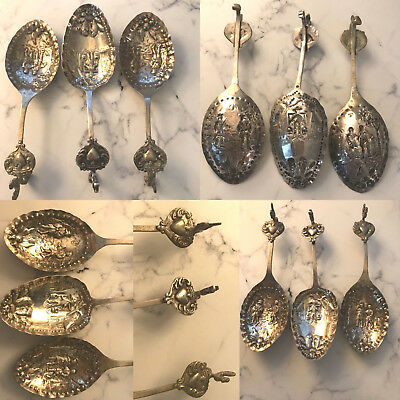 Antique Lot Of 3 Silver Scandinavian Embossed Spoons Rooster Figural Handles