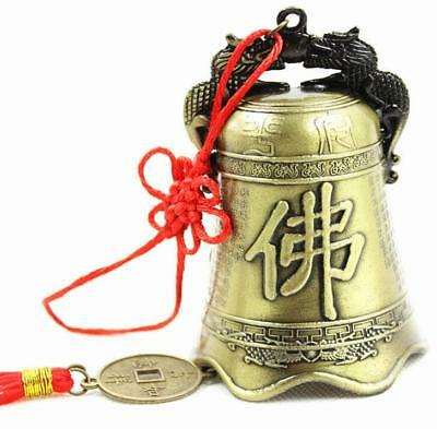 FengShui carved Dragon Buddha bell decoration blessing Wind chimes