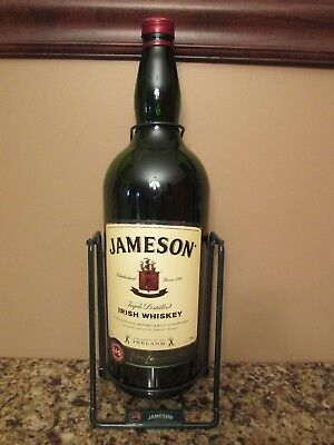 Large 4.5 Litre Empty Jameson Irish Whiskey Bottle w/ Metal Swinging Pour Stand