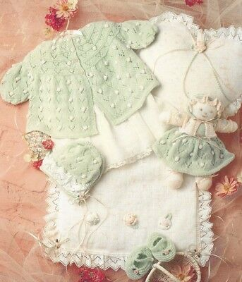Baby Layette Matinee Coat Bonnet Quilt Cushion Doll Knitting Pattern Premmie