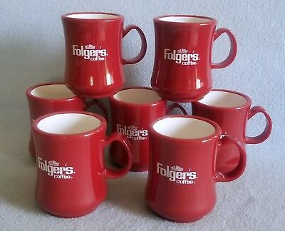 2 NEW NOS Vintage FOLGER'S CAFE RED COFFEE CUP MUG Heavy Plastic