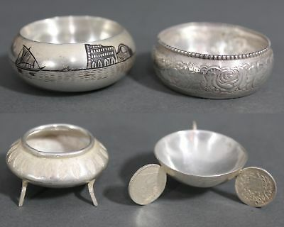4 Small Antique Gorham Sterling & 800 Silver Open Salt Cellars, Coins Niello, NR