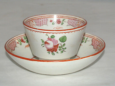 Antique English Porcelain Pearlware Chinese Export Style Rose Dec Cup & Saucer